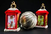 Red Lanterns With Snowman And Children Decoration And Bright Christmas Ball