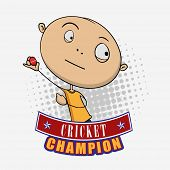 Funny cartoon of a boy ready to throw the Cricket ball on grey background.