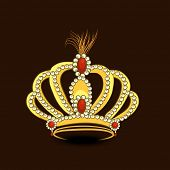 Creative stylish golden crown decorated with diamond on brown background.