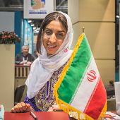 Hostess In The Iranian Stand At Bit 2015, International Tourism Exchange In Milan, Italy