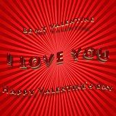 Three-dimensional Inscription Happy Valentines Day