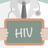 minimalistic illustration of a doctor holding a blackboard with HIV text, eps10 vector