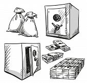 set of safes drawings. Money. Cash. Vector illustration