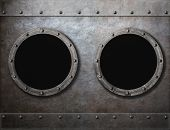 submarine or old ship two portholes metal frames background