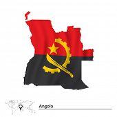 Постер, плакат: Map of Angola with flag vector illustration