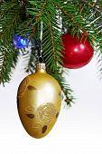 Retro ornaments on Christmas tree
