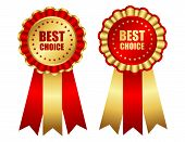 picture of award-winning  - Best choice red and gold award ribbon illustration - JPG