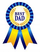 image of special day  - Best dad award ribbon rosette with text and gold laurel specially for father - JPG