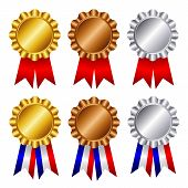 Gold , Silver And Bronze Award Ribbons