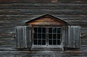 picture of log cabin  - Dark wooden texture of log cabin with old window - JPG