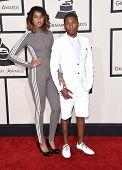 LOS ANGELES - FEB 08:  Pharrell Williams & Helen Lasichanh arrives to the Grammy Awards 2015  on February 8, 2015 in Los Angeles, CA