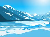 Mountains and lake winter landscape. EPS 10 format.