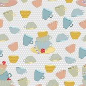 seamless background of colored mugs