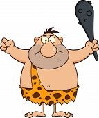 foto of cave-dweller  - Angry Caveman Cartoon Character Holding A Club - JPG
