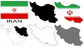 Iran - Flag, four vector map contours and Middle East map