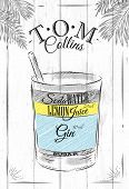 stock photo of collins  - Tom Collins cocktail in vintage style stylized painted on wooden boards - JPG