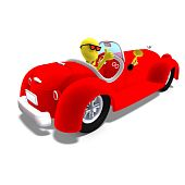 3d male icon toon character driving a huge car