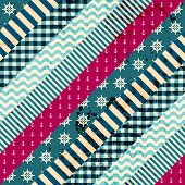 Diagonal patchwork pattern in nautical style.