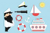 sailing cartoon icons set