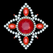 stock photo of brooch  - Golden brooch with diamonds and rubies on a black background - JPG