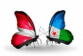 Two Butterflies With Flags On Wings As Symbol Of Relations Latvia And Djibouti