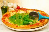 Pizza With Pesto Sauce And Ingredients