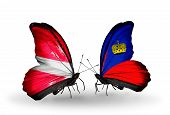 Two Butterflies With Flags On Wings As Symbol Of Relations Latvia And Liechtenstein