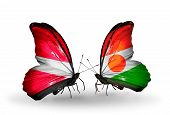 Two Butterflies With Flags On Wings As Symbol Of Relations Latvia And  Niger