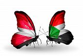 stock photo of sudan  - Two butterflies with flags on wings as symbol of relations Latvia and Sudan - JPG