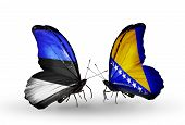 Two Butterflies With Flags On Wings As Symbol Of Relations Estonia And Bosnia And Herzegovina