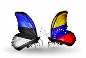 Two Butterflies With Flags On Wings As Symbol Of Relations Estonia And Venezuela
