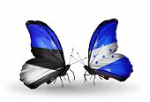 Two Butterflies With Flags On Wings As Symbol Of Relations Estonia And Honduras