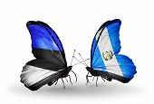 Two Butterflies With Flags On Wings As Symbol Of Relations Estonia And Guatemala