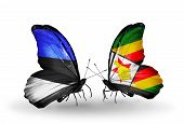 Two Butterflies With Flags On Wings As Symbol Of Relations Estonia And Zimbabwe