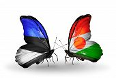 Two Butterflies With Flags On Wings As Symbol Of Relations Estonia And Niger