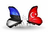 Two Butterflies With Flags On Wings As Symbol Of Relations Estonia And Turkey