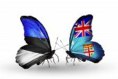 Two Butterflies With Flags On Wings As Symbol Of Relations Estonia And  Fiji