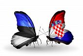 Two Butterflies With Flags On Wings As Symbol Of Relations Estonia And Croatia