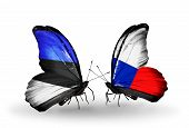 Two Butterflies With Flags On Wings As Symbol Of Relations Estonia And Czech