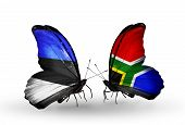 Two Butterflies With Flags On Wings As Symbol Of Relations Estonia And South Africa