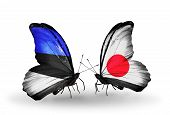 Two Butterflies With Flags On Wings As Symbol Of Relations Estonia And Japan