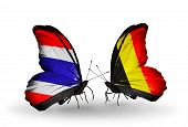 Two Butterflies With Flags On Wings As Symbol Of Relations Thailand And Belgium