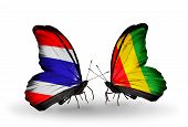 Two Butterflies With Flags On Wings As Symbol Of Relations Thailand And Guinea