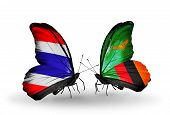 Two Butterflies With Flags On Wings As Symbol Of Relations Thailand And Zambia