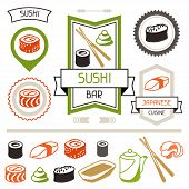 Badges and labels set with various sushi.