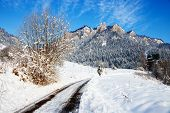 foto of pieniny  - Winter landscape in Pieniny Mountains Three Crowns Poland - JPG