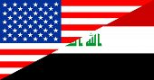 image of iraq  - united states of america and iraq half country flag - JPG