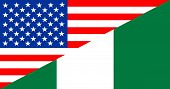 pic of nigeria  - united states of america and nigeria half country flag - JPG