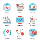 Постер, плакат: Medical Services Line Icons Set