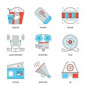 Movie Production Industry Line Icons Set